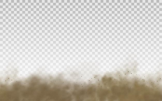 Latająca brązowa chmura piasku