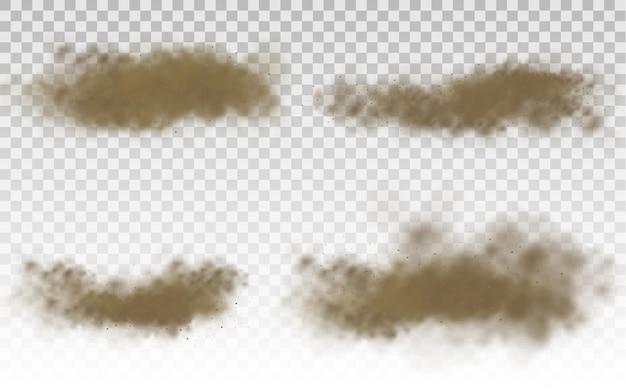 Latająca piaskowa brązowa zakurzona chmura drogowa lub suchy piasek lecący z podmuchem wiatru burza piaskowa