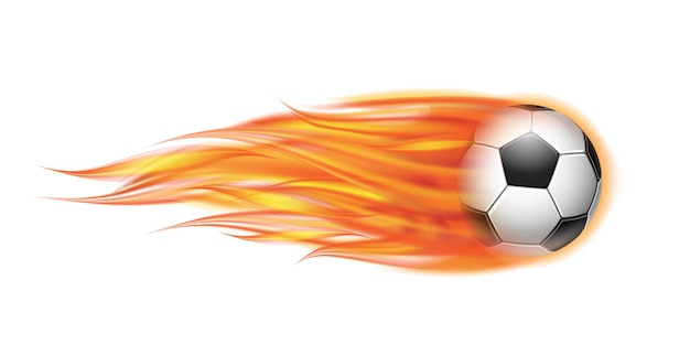 Latająca piłka nożna na ilustracji ognia