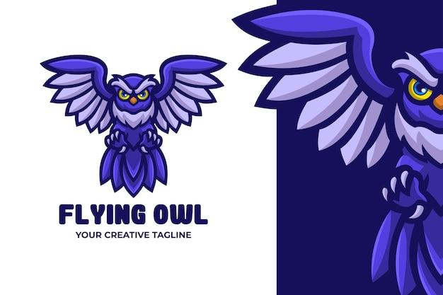 Latająca sowa ptak maskotka logo postaci