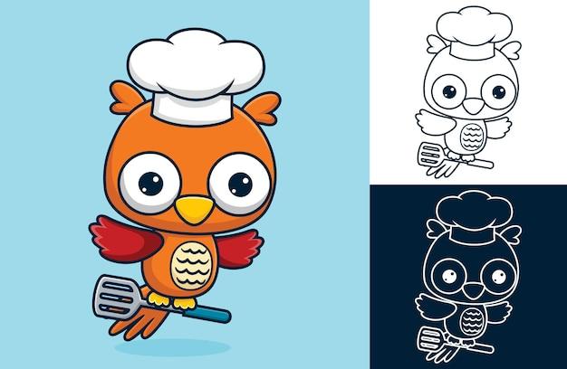 Latająca sowa w kapeluszu szefa kuchni, niosąc łopatkę w nogach. ilustracja kreskówka w stylu płaskiej ikony
