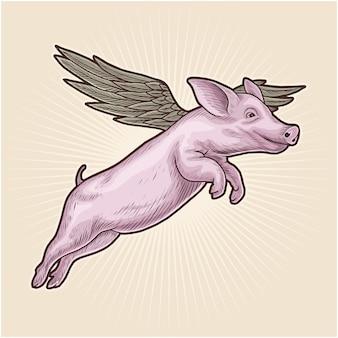 Latająca świnia handdrawn ilustracji wektorowych