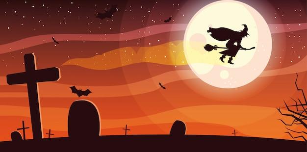 Latająca wiedźma z miotłą w sztandar sceny cmentarza