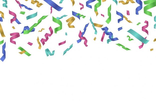 Latająca wstążka konfetti. kolorowe wstążki spadają. świąteczne tło