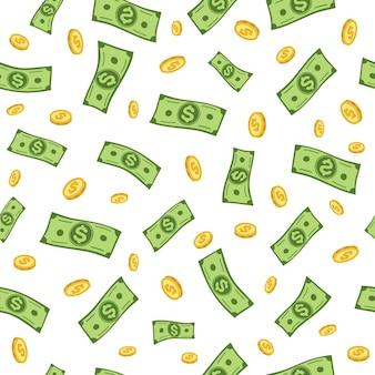 Latające banknoty dolarowe złote monety wzór