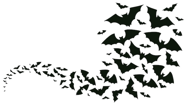 Latające halloween nietoperze sylwetki nietoperze stado latające fala wampira straszne zwierzęta wektor tle vector