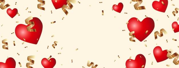 Latające i spadające realistyczne czerwone serca i błyszczące brokatowe złote konfetti, świąteczne tło z miejscem na tekst
