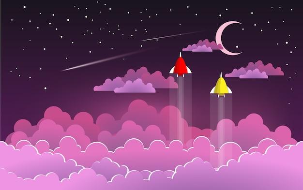 Latające ilustracje rakietowe w nocy z pięknymi chmurami dla tła, plakatów lub tapet. projektowanie sztuki papierniczej
