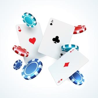Latające karty pokera, żetony. kasyno hazard realistyczne spadające karty do gry 3d i plastikowy czerwony i czarny układ. elementy