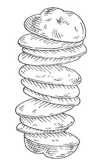 Latające kawałki świeżego ziemniaka vintage wektor wygrawerować czarny ilustracja izolowany na białym
