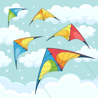 Latające kolorowe latawce na niebie z chmurami na tle. kitesurfing. letni festiwal, wakacje, wakacje. koncepcja kitesurfingu. ilustracja. kreskówka