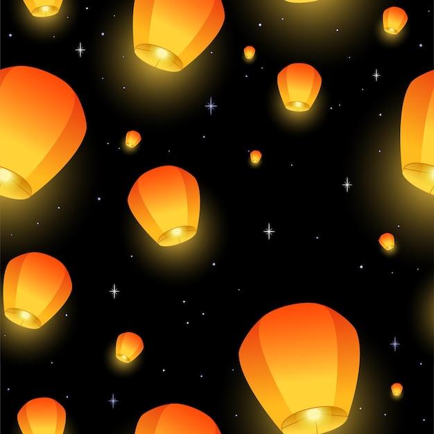 Latające latarnie bez szwu wzór festiwal diwali festiwal środka jesieni lub chiński świąteczny