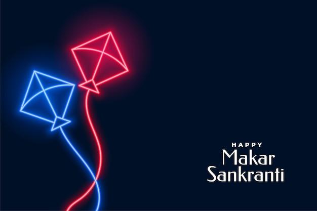 Latające latawce neonowe na festiwalu makar sankranti