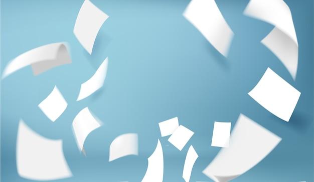 Latające papiery ilustracji na niebieskim tle