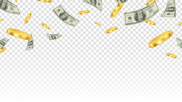 Latające pieniądze. złote monety i banknoty w powietrzu na przezroczystym tle.