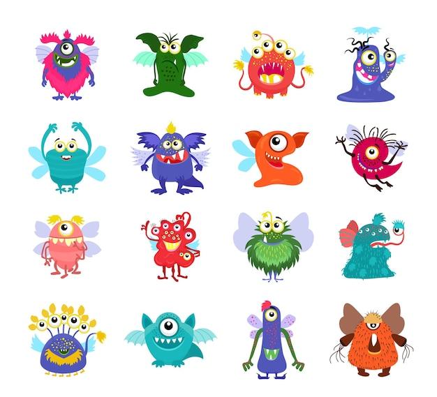 Latające potwory z kreskówek ustawione na imprezę dla dzieci. latające potwory ze skrzydłami, ilustracja postaci potwora