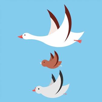 Latające ptaki kreskówka zestaw na białym tle na tle.