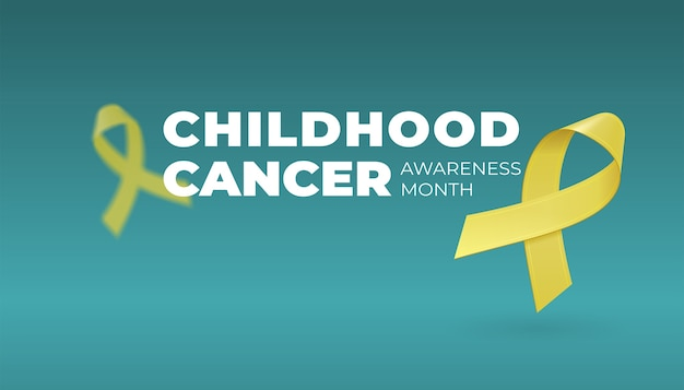 Latające realistyczne żółte wstążki na ciemnym tle z miejsca na kopię. symbol świadomości raka u dzieci we wrześniu.
