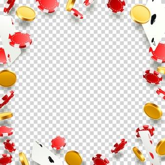 Latające spadające karty do pokera z żetonami i monetami. obiekty kasyna na przezroczystym tle. ilustracja wektorowa