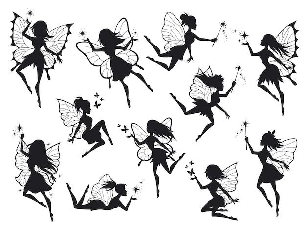 Latające sylwetki wróżki ze skrzydłami