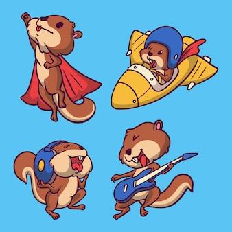 Latające wiewiórki, wiewiórki na pokład samolotu, wiewiórki słuchają muzyki, a wiewiórki grają na gitarze zestaw ilustracji maskotki zwierząt logo