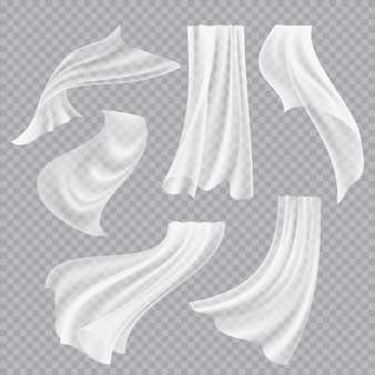 Latające zasłony. białe puste ubrania przezroczyste tkaniny dekoracyjne skręcone płynące jedwab z realistycznymi fałdami