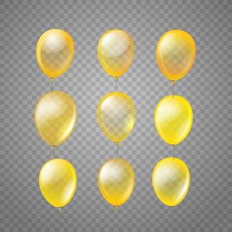 Latające złote balony na białym tle na tle tranparent