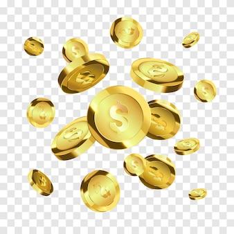 Latające złote monety na białym tle. pieniądze wektor