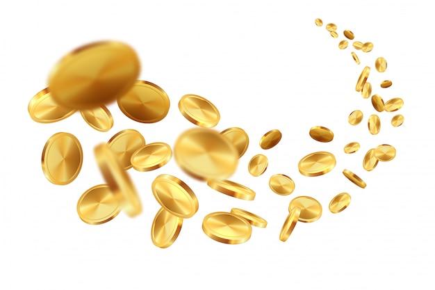 Latające złote monety. realistyczna gra z jackpotem w dolarach spadających na skarby i loteria.