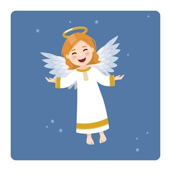 Latający anioł na tle błękitnego nieba i gwiazd. płaska ilustracja