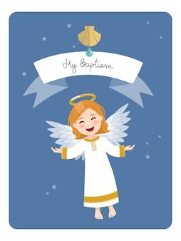 Latający anioł. przypomnienie o chrzcie na tle błękitnego nieba i gwiazd. płaska ilustracja