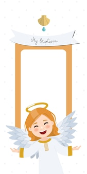 Latający anioł. zaproszenie na chrzest pionowe z przesłaniem. płaska ilustracja