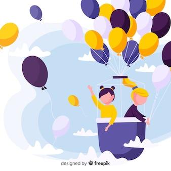 Latający balon dzień tło dla dzieci