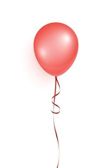 Latający balon z czerwonym helem na przyjęcie urodzinowe i inne święta na białym tle