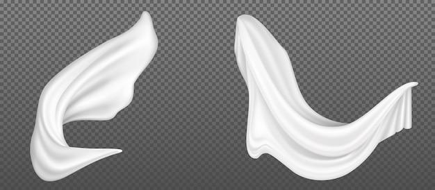 Latający biały jedwabny materiał