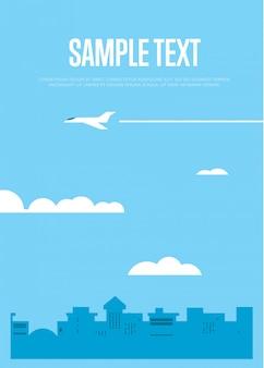 Latający biały samolot w niebieskim niebie