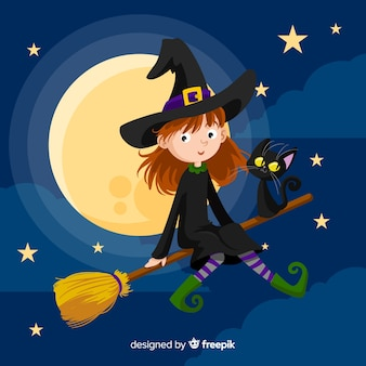 Latający czarownica halloween tło