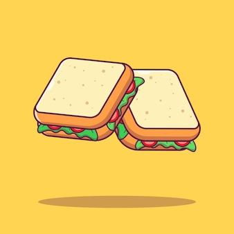 Latający kawałek świeżych warzyw sandwich płaskie ilustracja kreskówka na białym tle