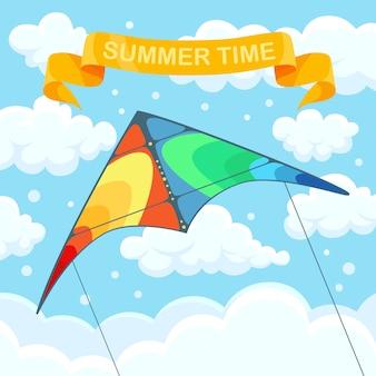Latający kolorowy latawiec na niebie z chmurami. letni festiwal, wakacje, wakacje. koncepcja kitesurfingu