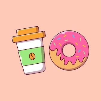 Latający kubek kawy i pączki ilustracja kreskówka płaski.