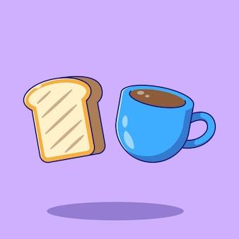 Latający kubek kawy i pieczony chleb płaski ilustracja kreskówka.
