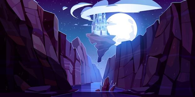 Latający magiczny zamek w nocy widok z dołu do góry, bajkowy pałac unosi się w ciemnym niebie na kawałku skały nad górskim wąwozem