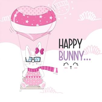 Latający mały króliczek z balonów