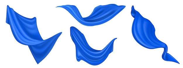Latający niebieski jedwabny materiał na białym tle. wektor realistyczny zestaw falujące aksamitne ubrania, szalik lub zasłony na wietrze