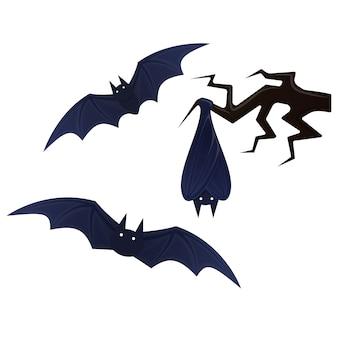 Latający nietoperz, straszna ilustracja halloween.