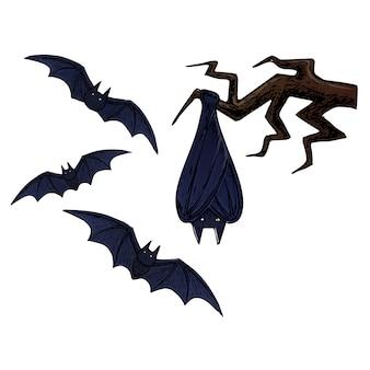 Latający nietoperz, straszna ilustracja szkic halloween.