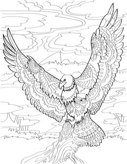 Latający orzeł z szeroko otwartymi skrzydłami, niosący martwą rybę na pochmurnym tle bezbarwna linia