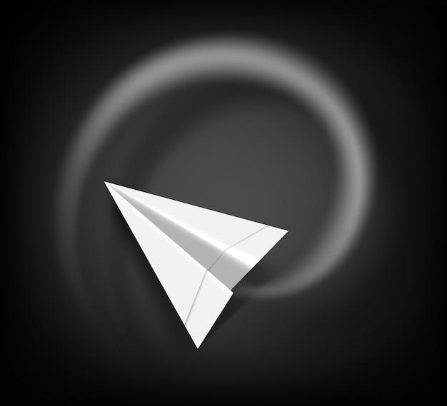 Latający papierowy samolot nad czarną tablicą.
