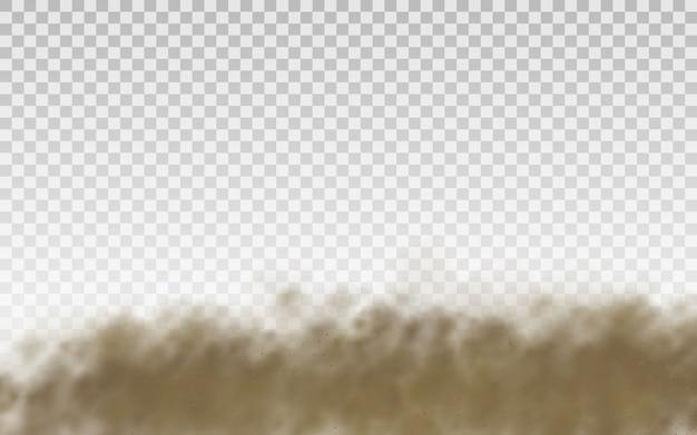 Latający piasek. chmura kurzu. brązowa zakurzona chmura lub suchy piasek latający z podmuchem wiatru, burza piaskowa. brązowy dym realistyczne tekstury. ilustracja.