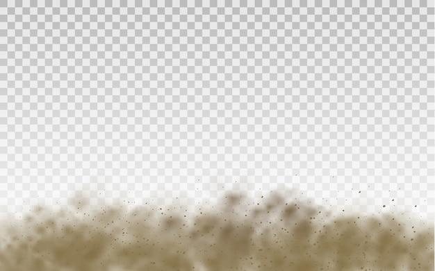 Latający piasek. chmura kurzu. brązowa zakurzona chmura lub suchy piasek latający z podmuchem wiatru, burza piaskowa. brązowy dym realistyczne tekstury
